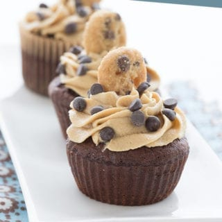 Keto Cookie Dough Cupcakes on a white plate