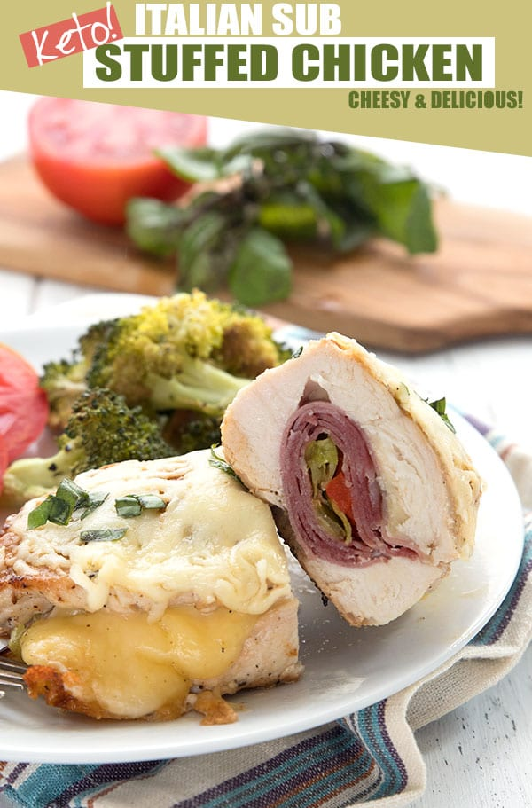 Keto Italian Sub stuffed chicken breast on a plate with broccoli and sliced tomato