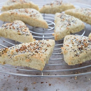 Everything bagel scones on a cooling rack