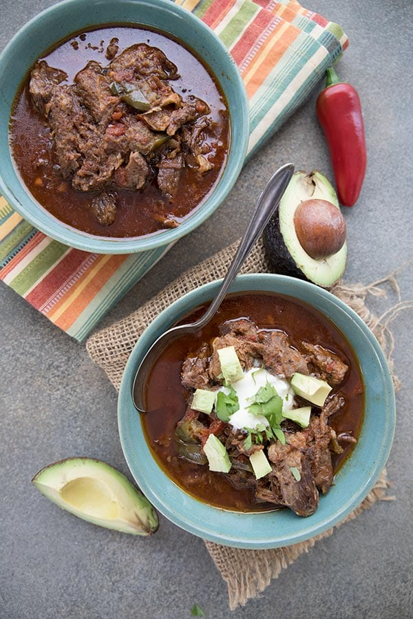 Top down photo of Paleo bean-free chili in two bowls