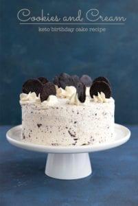 Keto Cookies and Cream cake on a white cake plate