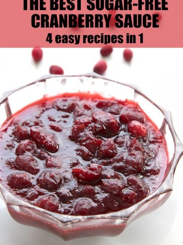 Sugar-free cranberry sauce in a crystal bowl with fresh cranberries in the background