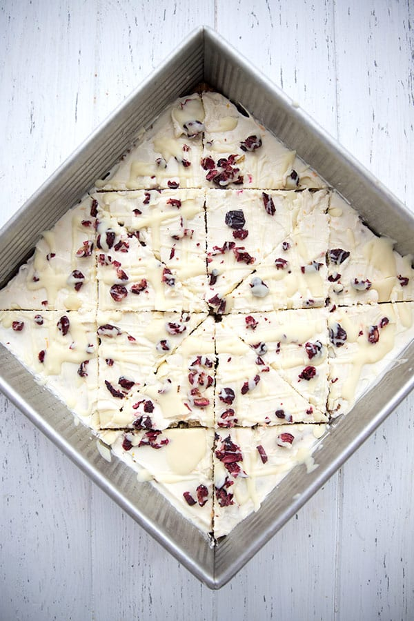 Top down photo of cranberry bliss bars in the pan.