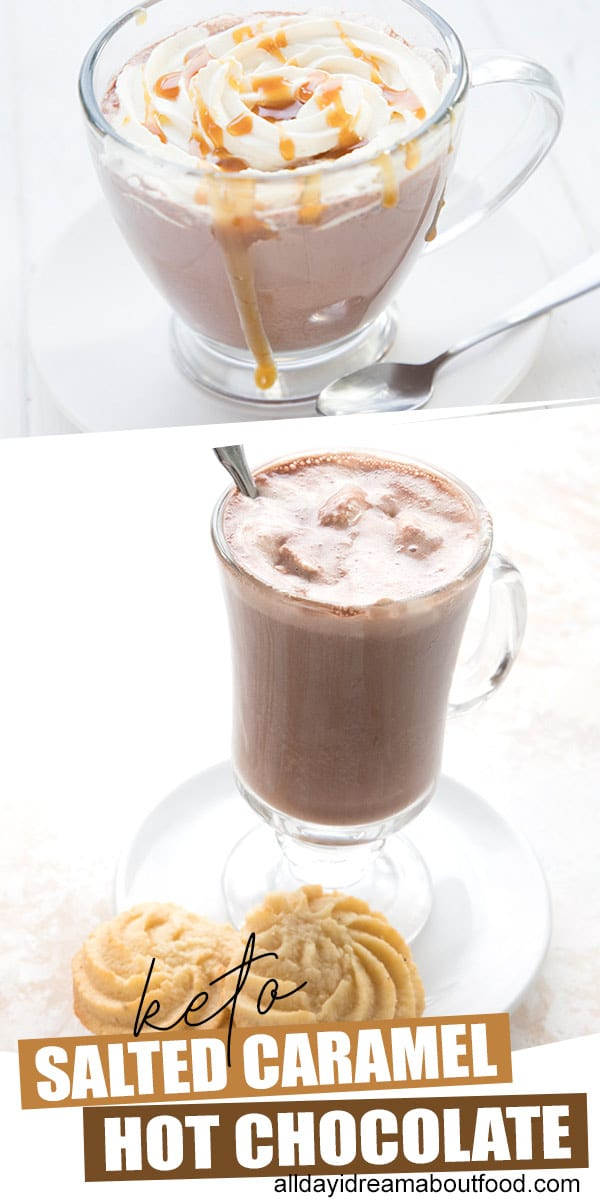 Keto hot chocolate in a glass mug with two low carb butter cookies.