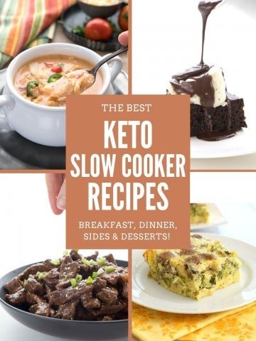 Collage of 4 keto slow cooker recipes with title in the center.