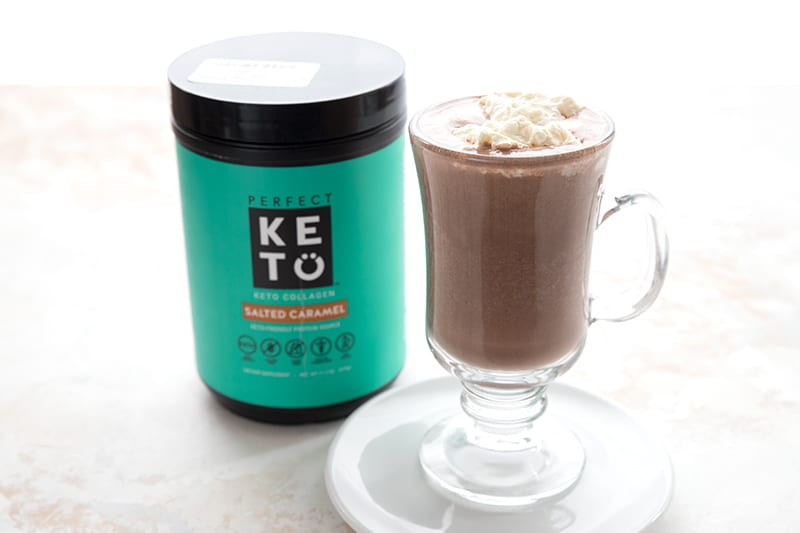 Keto hot chocolate made with salted caramel collagen protein.