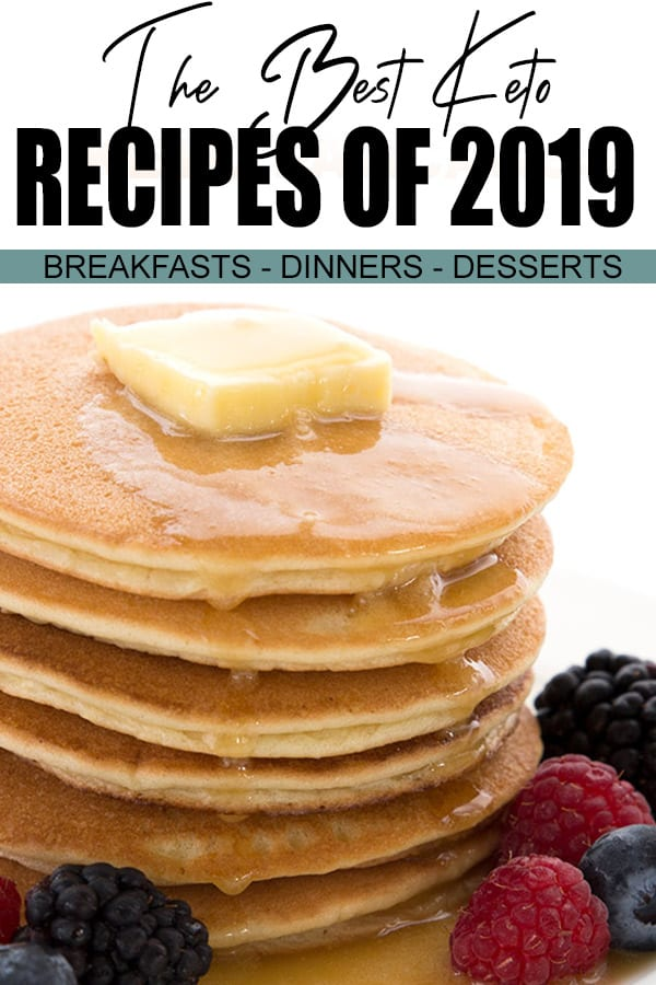 Featured recipe for the best keto recipes of 2019. A stack of almond flour pancakes with butter melting on top.