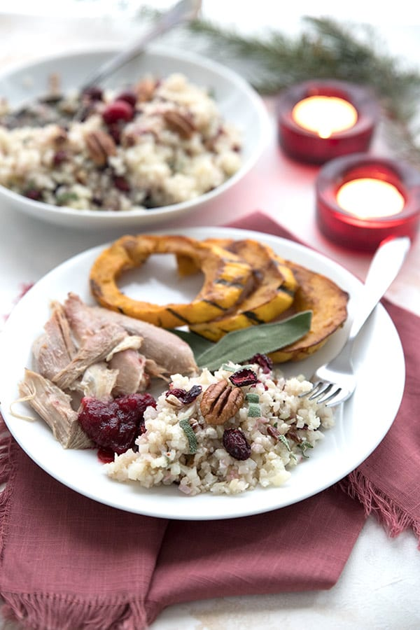 A keto holiday meal with turkey, cauliflower rice, and delicata squash.