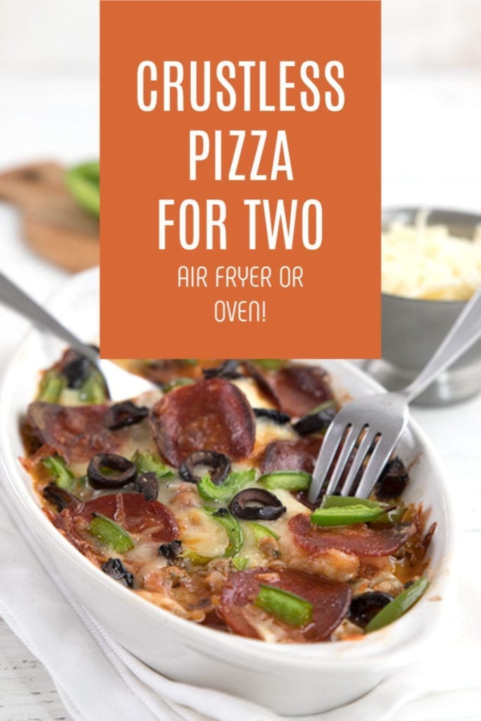 Title image of crustless pizza for two in a small casserole dish with two forks in it.