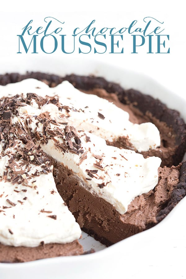 Titled image and close up shot of keto chocolate mousse pie in a white pie pan.