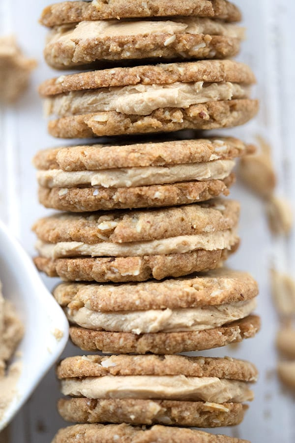 Close up shot of peanut butter oatmeal sandwich cookies to show texture.