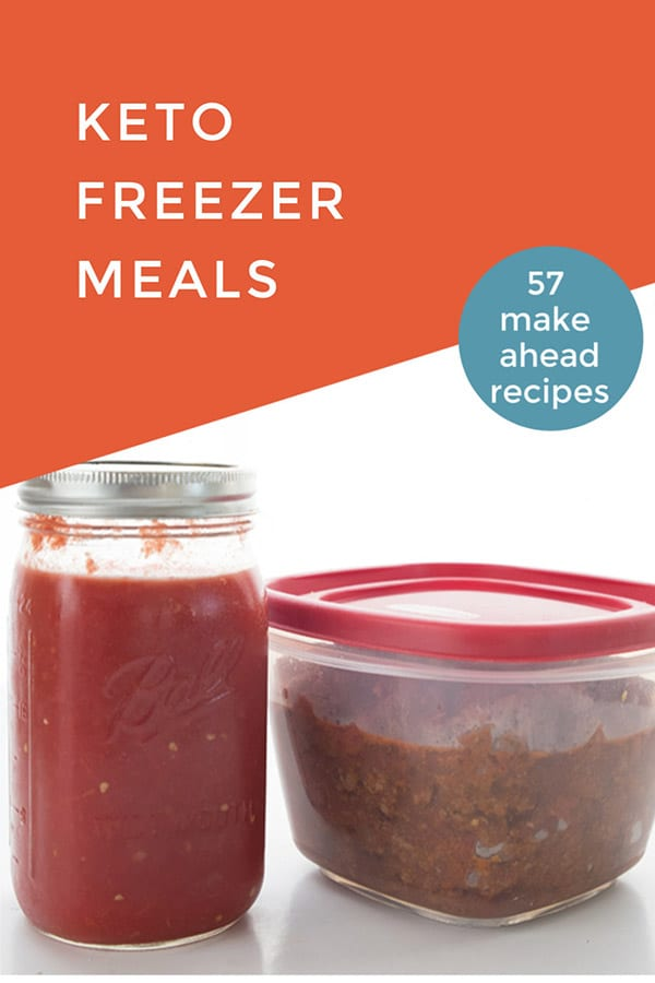 Titled image of keto freezer meals with a jar of tomato sauce and a tupperware full of chili.