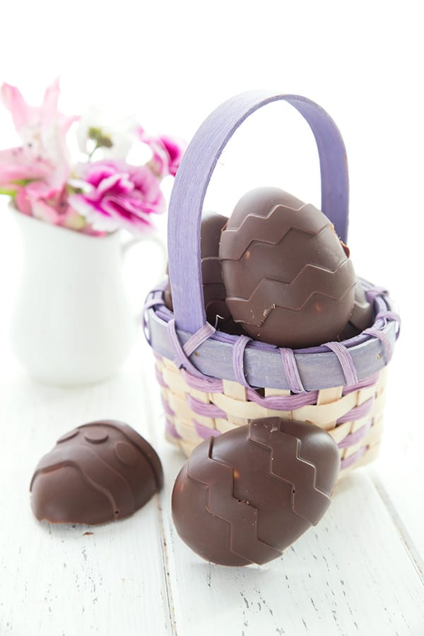 A purple Easter basket filled with sugar-free chocolate easter eggs