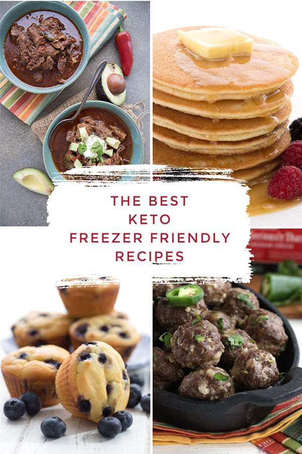Collage of freezer friendly keto recipes.