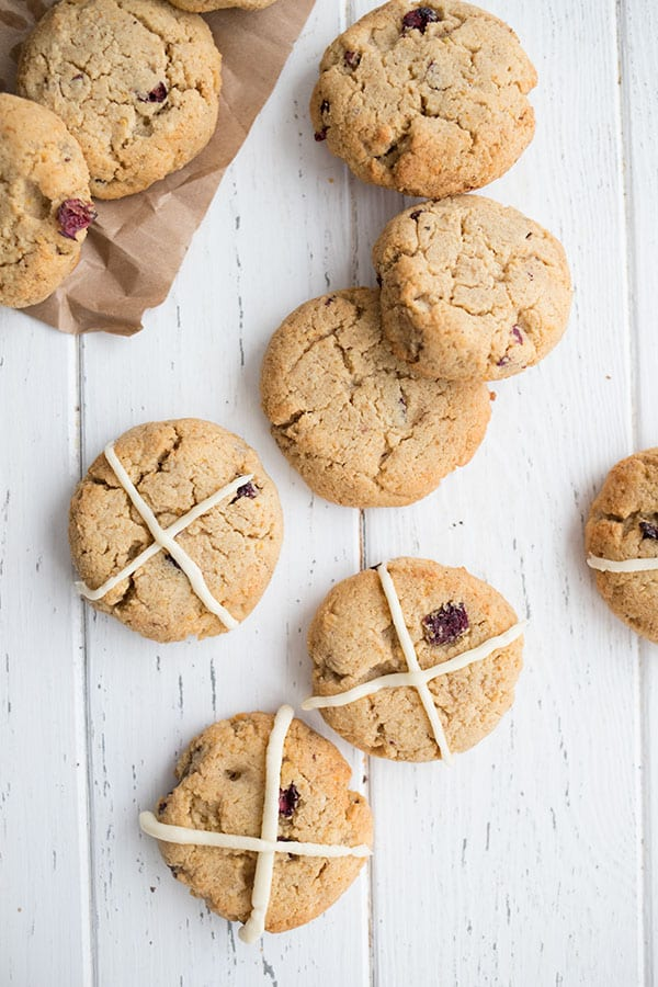 Top down photo of hot cross scones on a white table
