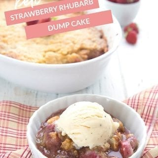 Titled image of keto strawberry rhubarb dump cake. A bowl with cake and some ice cream in front and the pan in behind with a bowl of strawberries.