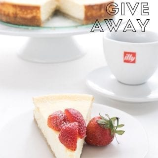Titled image for mother's day giveaway, with a keto ricotta cheesecake featured.