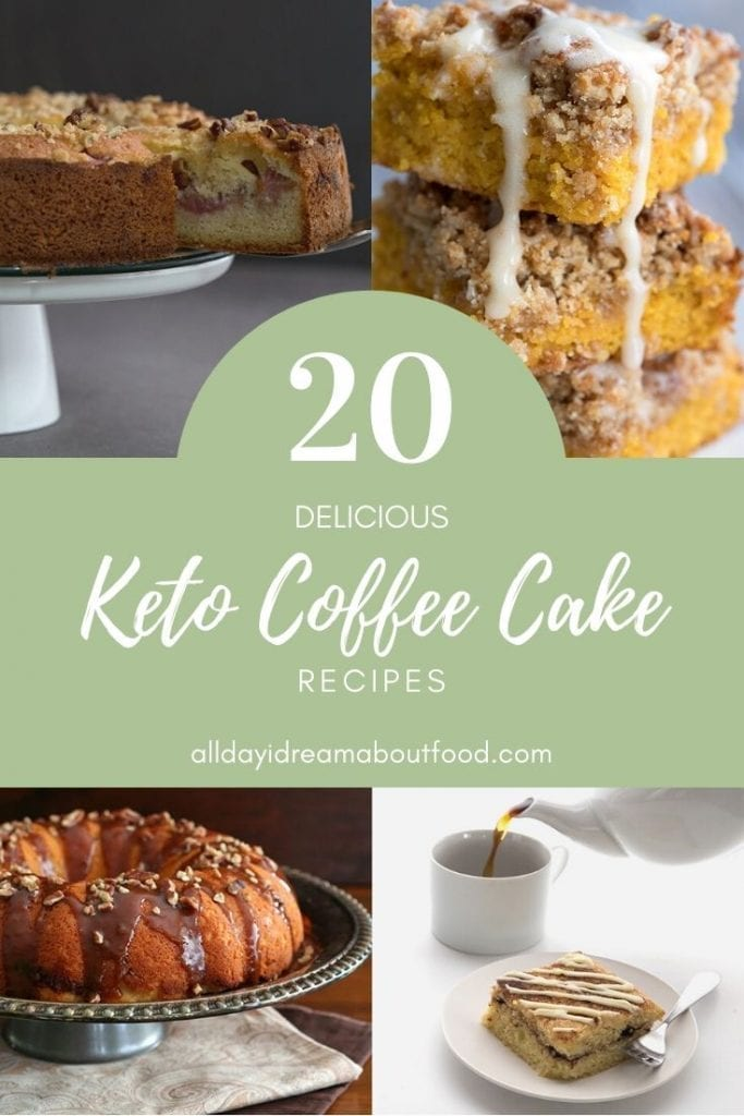 Titled image of collage of keto coffee cake recipes