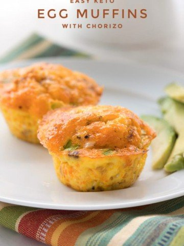Titled image: Up close photo of Easy Keto Egg Muffins with Chorizo