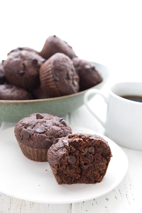 Keto Diet Explained  Two keto chocolate zucchini muffins, one broken open, on a white plate with a white mug of coffee and a bowl of muffins in the background.