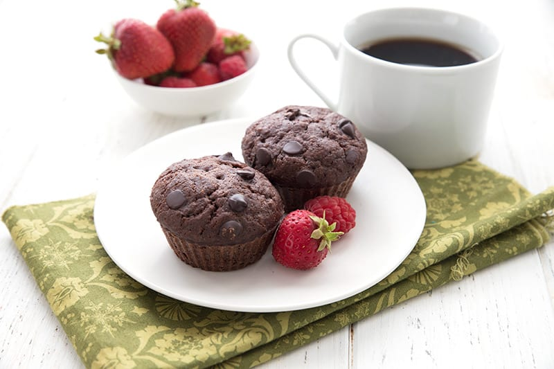 Keto Diet Explained  Two double chocolate zucchini muffins sit on a white plate over a green patterned napkin. A cup of coffee and a bowl of berries in the background.