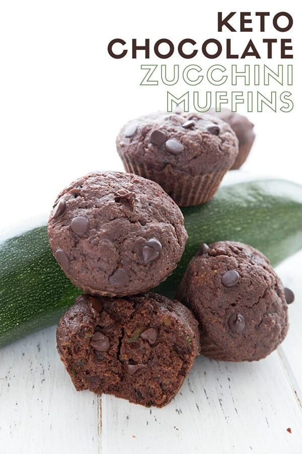 Keto Diet Explained  Titled image of chocolate zucchini muffins piled around a zucchini