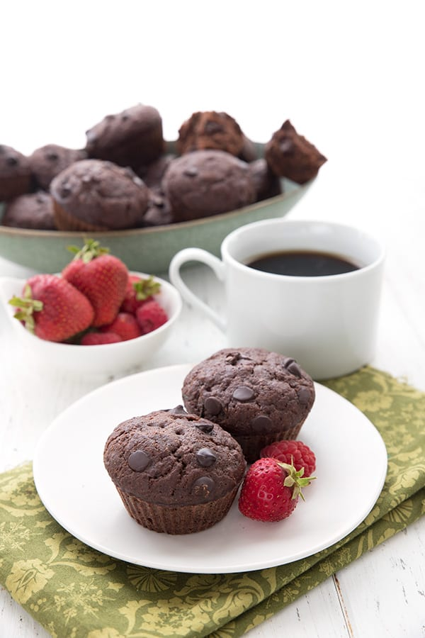 Keto Diet Explained  Two double chocolate zucchini muffins sit on a white plate over a green patterned napkin. A cup of coffee, a bowl of berries, and a bowl of muffins in the background.