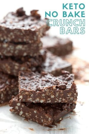Titled image of keto no bake chocolate crunch bars in a stack, with two bars close up in front.