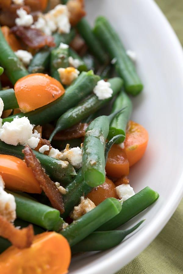 Close up shot of keto green bean salad