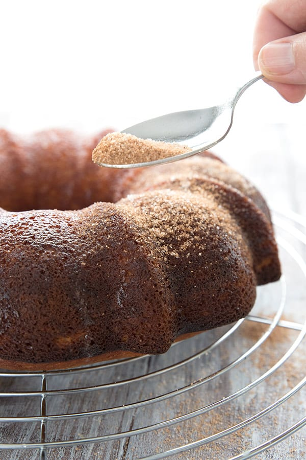 Sprinkling cinnamon and sweetener over a keto apple cider donut cake