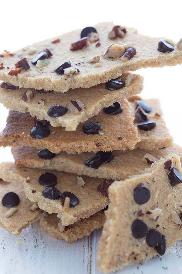 Close up shot of a stack of keto cookie brittle