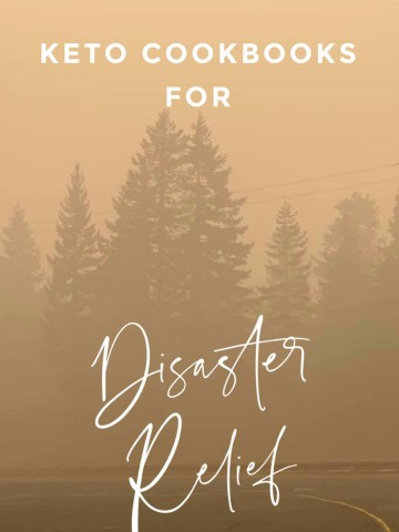 """Titled image: smoky forest on the top of Mt. Hood, with title """"Keto Cookbooks for Disaster Relief"""""""