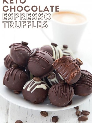 Titled image of keto chocolate espresso truffles on a white plate, with a cup of espresso in the background.