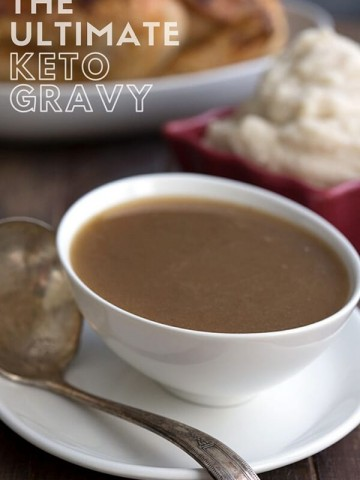 Titled image of keto gravy in a white bowl with a roast turkey in the background