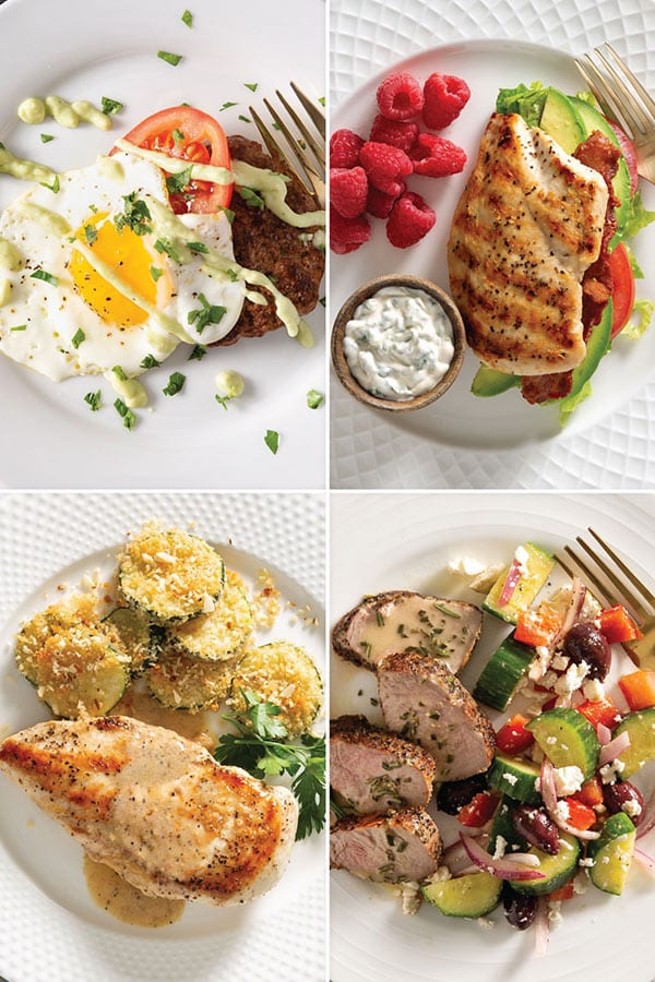 Pinterest collage of keto meal plan recipes