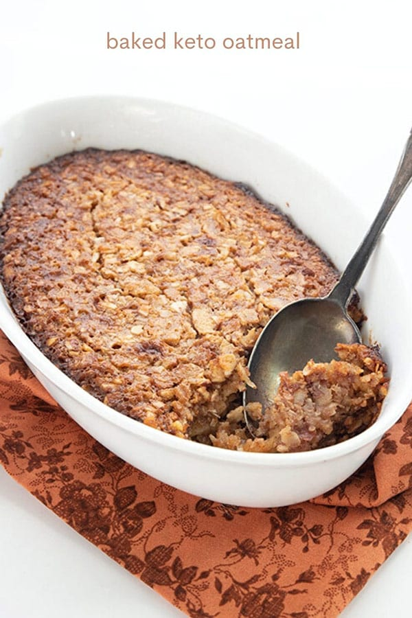 Titled image of baked keto oatmeal in a dish with a spoon scooping some out