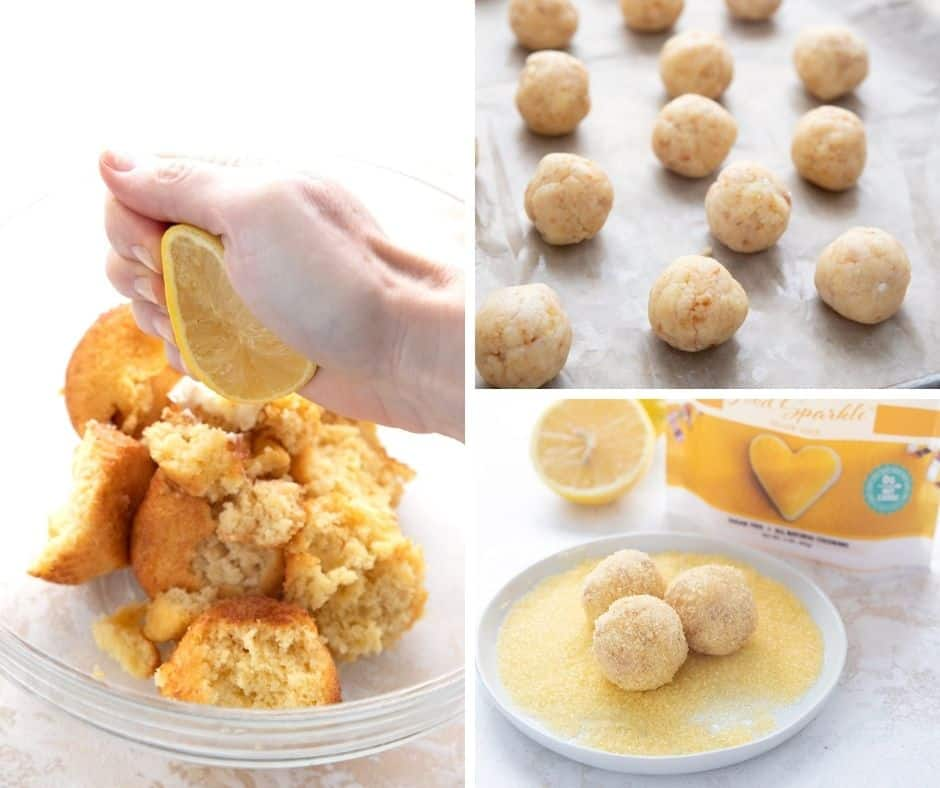 A photo collage showing how to make keto lemon cake balls.