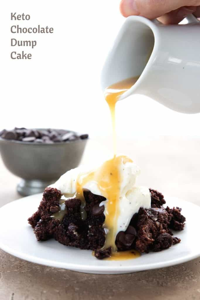 Titled image of sugar free caramel sauce pouring over a plate of keto chocolate dump cake.