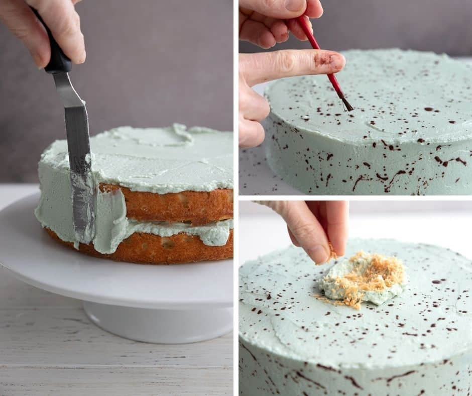 A collage of photos showing how to decorate a keto Easter Egg Cake.