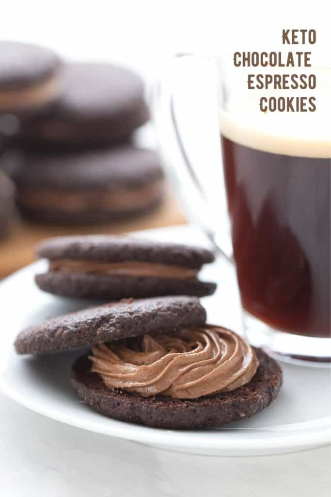Titled image of keto chocolate espresso sandwich cookies, with one broken open beside a cup of espresso.