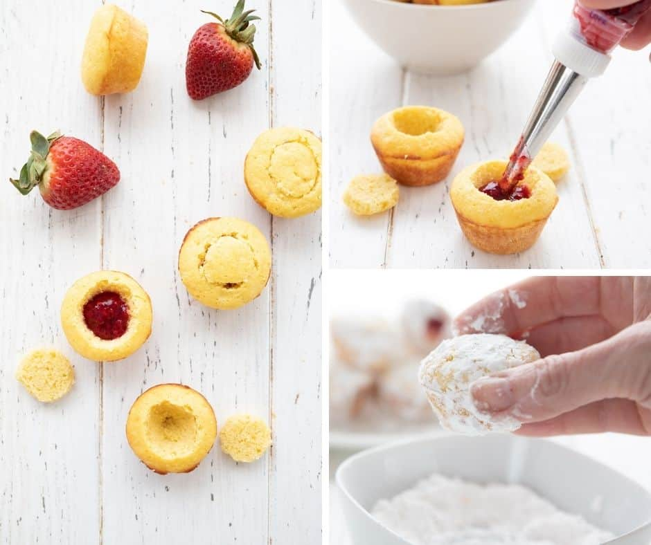 A collage of images showing how to make keto jelly donut bites.