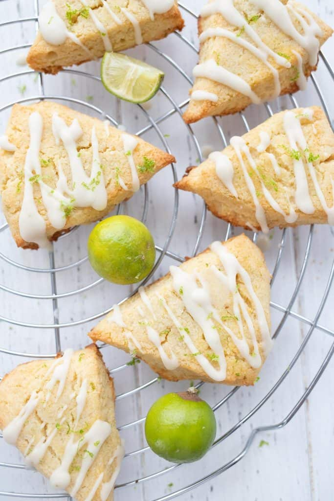Top down image of keto key lime scones on a cooling rack.