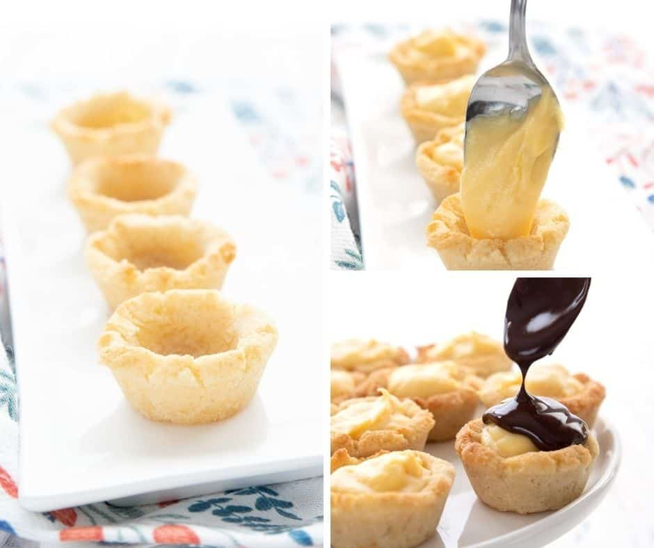 Collage of images showing how to make keto cookie cups.
