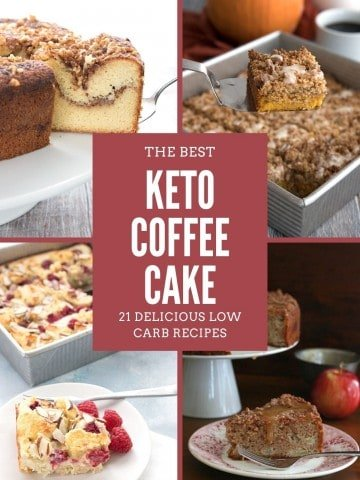 A titled collage of 4 keto coffee cake recipes.