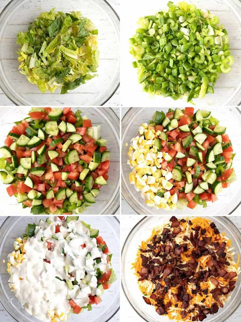 A collage of photos showing the 7 layers of the salad