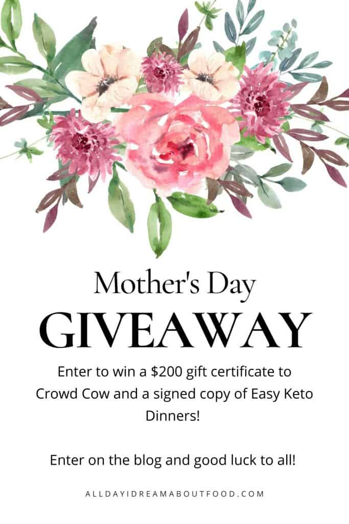 Graphic with water color flowers for Mother's Day Giveaway
