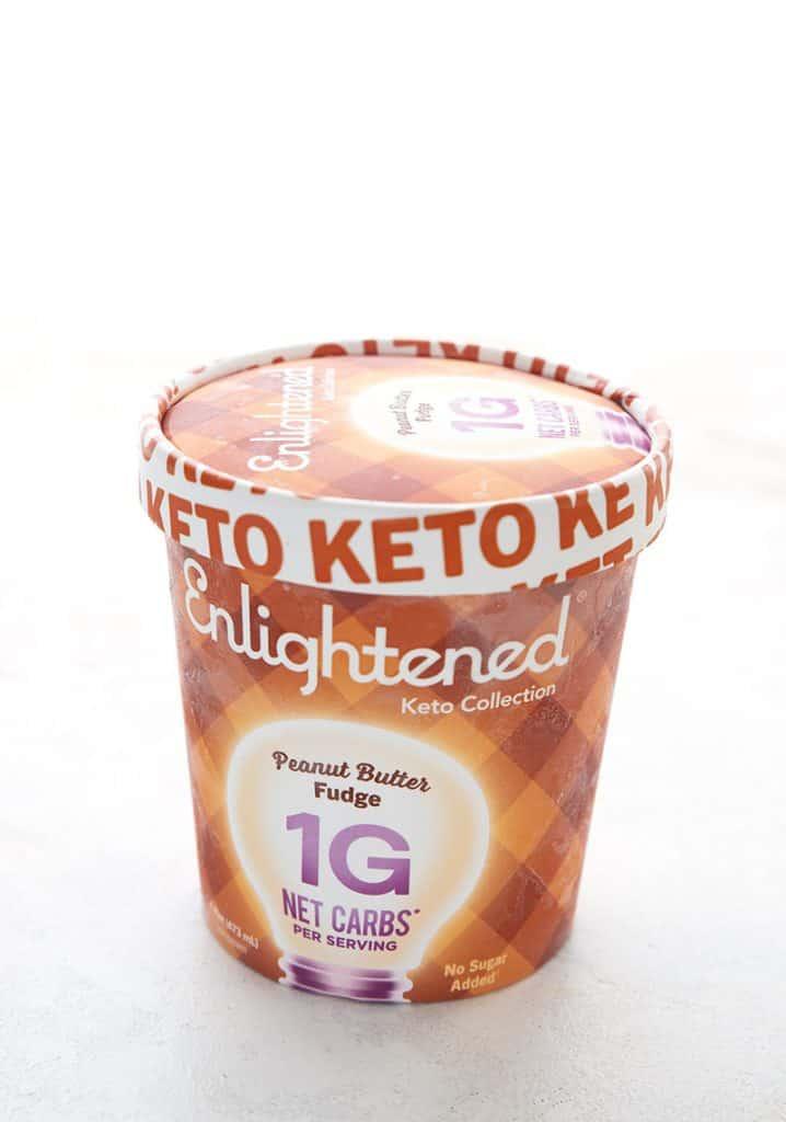 Pint of Enlightened Keto Peanut Butter Fudge ice cream