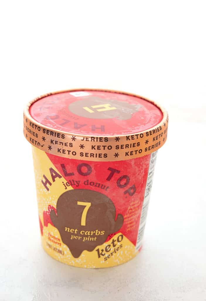 Pint of keto Halo Top Jelly Donut Ice Cream