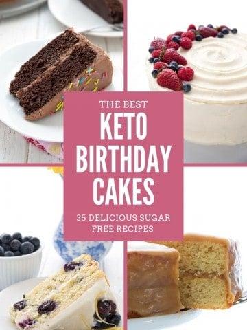 A collage of keto birthday cake photos