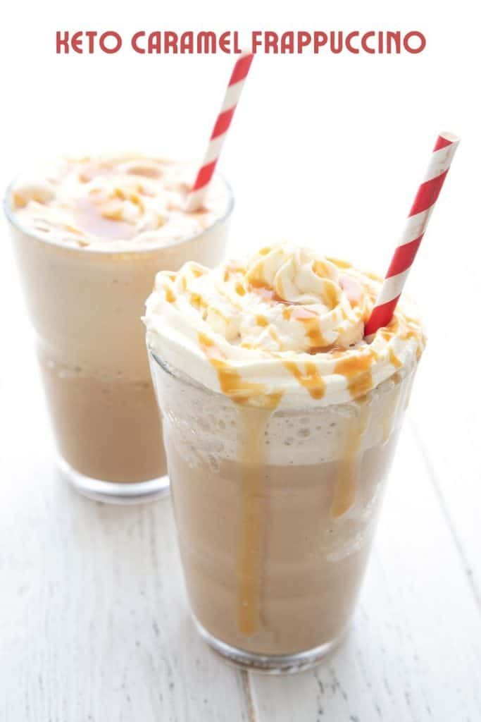 Titled image of two keto frappuccinos on a white table with striped red straws sticking out.